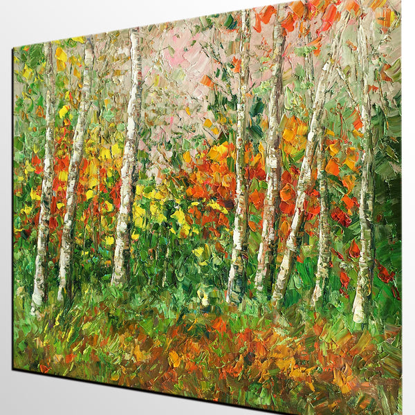 Forest Tree Painting, Abstract Art, Landscape Art, Living Room Wall Art, Canvas Art, Abstract Art, Large Art, Abstract Painting, Original Painting-artworkcanvas