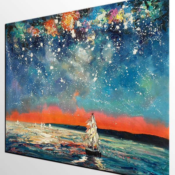 Landscape Painting, Starry Night Sky, Abstract Painting, Canvas Art, Custom Extra Large Canvas Painting - artworkcanvas