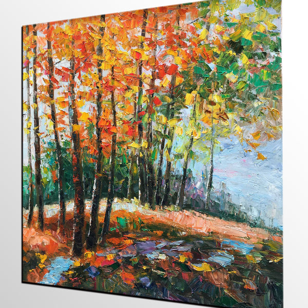 Abstract Art, Forest Tree Painting, Landscape Painting, Heavy Texture Oil Painting, Large Art, Canvas Wall Art, Canvas Painting - artworkcanvas
