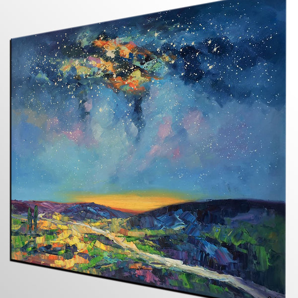 Bedroom Art, Abstract Art, Abstract Painting, Starry Night
