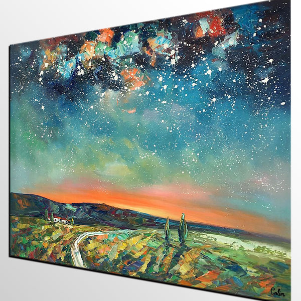 Abstract Landscape Oil Painting, Starry Night Sky Painting, Custom Large Canvas Painting, Heavy Texture Painting - artworkcanvas