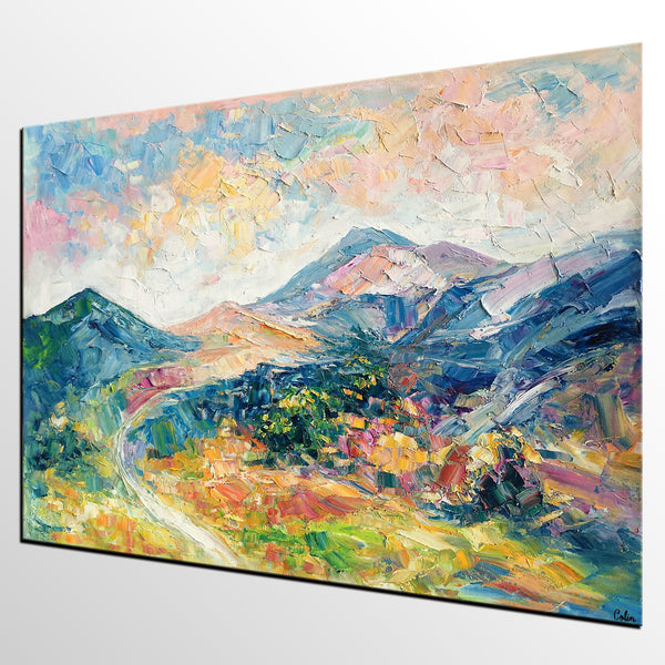 Abstract Art Painting for Bedroom, Mountain Landscape Painting, Contemporary Art for Bedroom - artworkcanvas