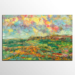 Abstract Painting, Mountain Landscape Painting, Custom Abstract Painting, Large Oil Painting, Heavy Texture Art - artworkcanvas