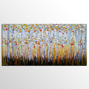 Abstract Autumn Paintings, Custom Extra Large Painting, Autumn Tree Landscape Painting,