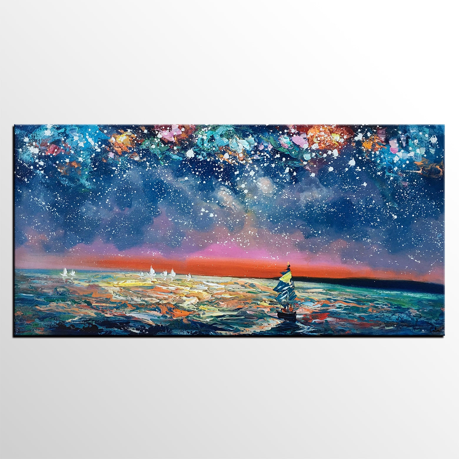 Canvas Wall Art, Sail Boad under Starry Night Painting, Seascape Painting,  Custom Large Canvas Wall Art, Original Artwork - artworkcanvas