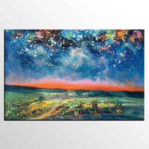 Abstract Art Painting, Starry Night Sky Painting, Original Landscape Painting, Heavy Texture Art Painting, Contemporary Art-artworkcanvas
