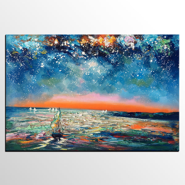 Abstract Canvas Painting, Abstract Art for Sale, Sail Boat under Starry Night Sky Painting, Custom Art, Buy Art Online - artworkcanvas