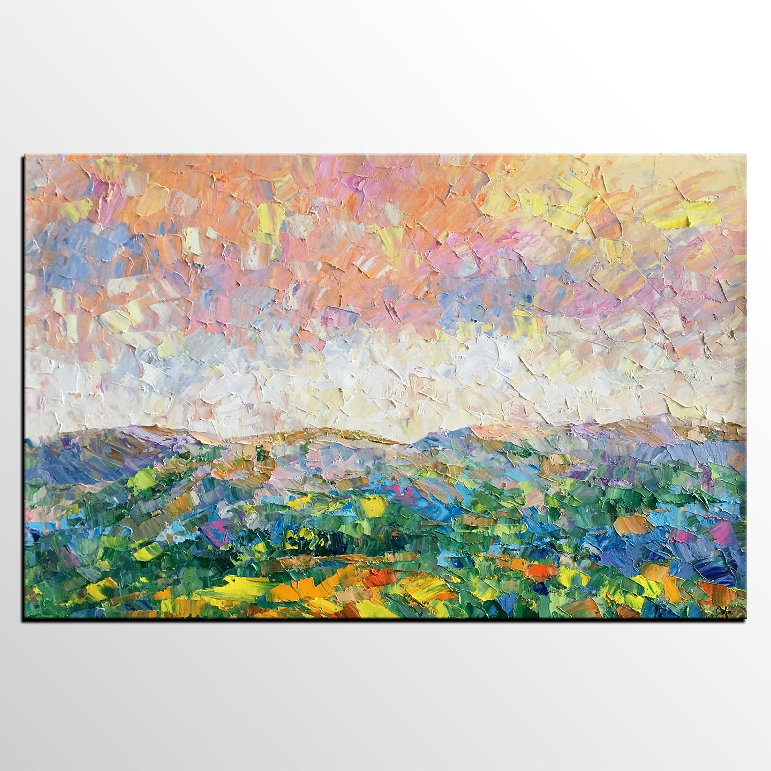 Mountain and Sky Painting, Landscape Painting, Custom Oil Painting Painting, Living Room Wall Art, Canvas Painting - artworkcanvas