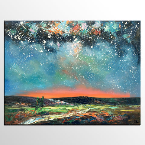 Abstract Landscape Painting, Starry Night Sky, Heavy Texture Landscape Painting, Custom Large Art - artworkcanvas