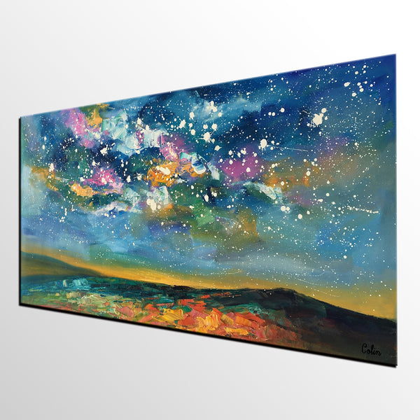 Abstract Art, Starry Night Sky Oil Painting, Modern Art Painting, Custom Extra Large Painting - artworkcanvas