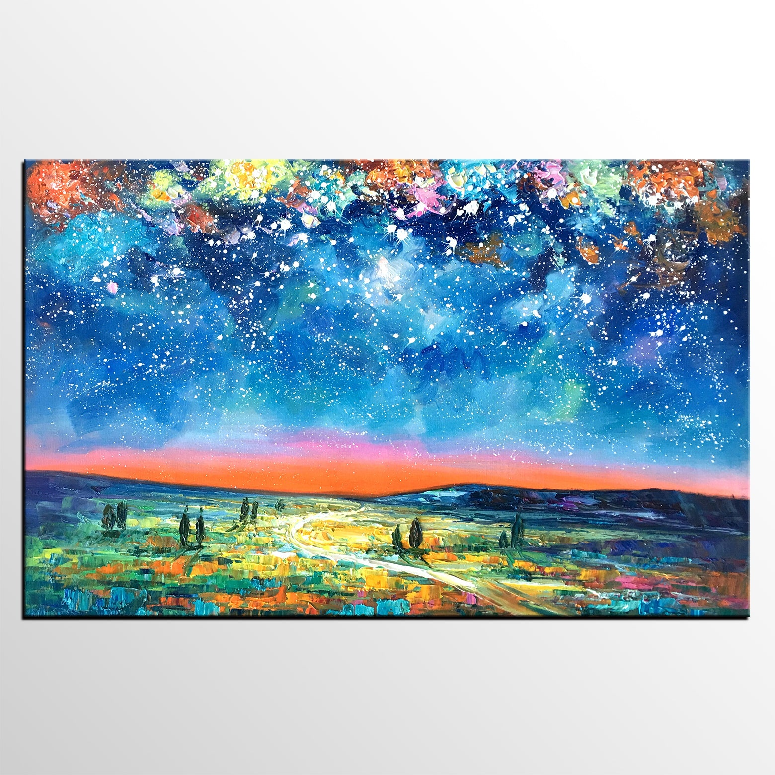 Abstract Landscape Painting, Starry Night Sky Painting, Custom Artwork, Heavy Texture Oil Painting - artworkcanvas