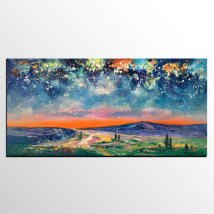Abstract Painting, Canvas Art, Starry Night Sky Painting, Bedroom Wall Art, Custom Painting - artworkcanvas