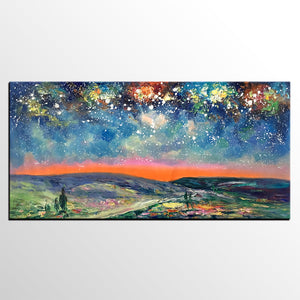 Starry Night Sky Painting, Custom Extra Large Painting, Original Landscape Painting, Canvas Painting for Dining Room - artworkcanvas