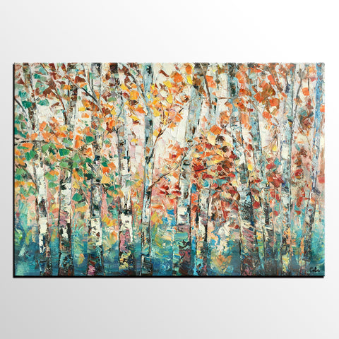 Abstract Artwork, Autumn Tree Landscape Art, Custom Canvas Painting for Living Room, Landscape Painting, Heavy Texture Canvas Art - artworkcanvas