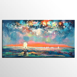 Abstract Landscape Art, Starry Night Sky Painting, Impasto Artwork, Canvas Painting, Custom Extra Large Painting - artworkcanvas