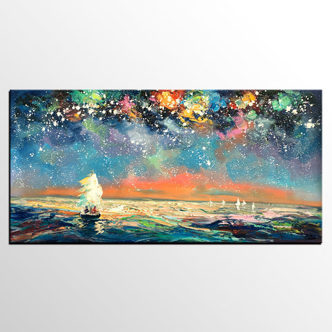 Abstract Canvas Art, Impasto Artwork, Starry Night Sky Painting, Canvas Painting, Custom Extra Large Painting - artworkcanvas