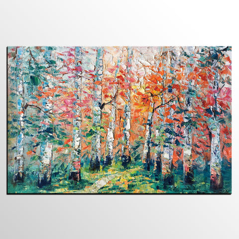 Abstract Landscape Painting, Custom Canvas Painting for Living Room, Heavy Texture Canvas Painting, Autumn Birch Tree - artworkcanvas