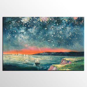 Heavy Texture Painting, Landscape Oil Painting, Starry Night Sky Painting, Custom Large Canvas Painting - artworkcanvas