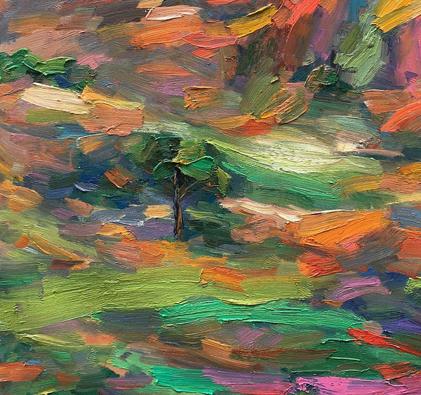 Abstract Art Painting, Landscape Oil Painting, Original Painting, Autumn Mountain Painting - artworkcanvas