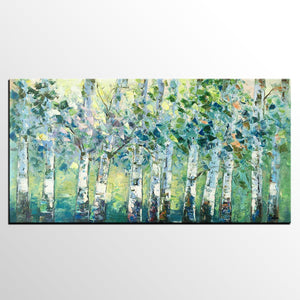 Spring Tree Painting, Original Painting, Custom Extra Large Painting, Oil Painting for Dining Room - artworkcanvas