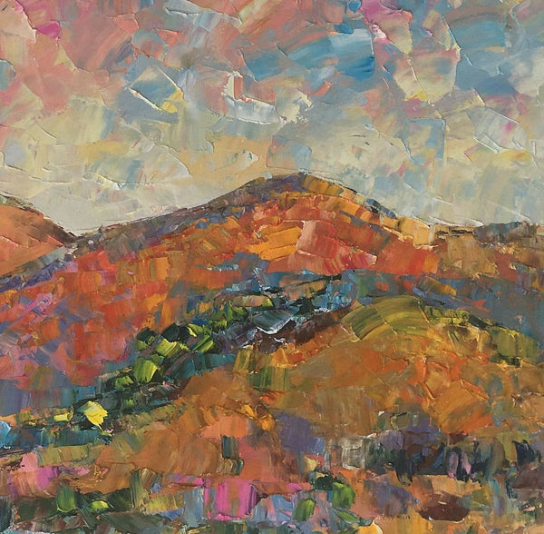 Abstract Landscape Oil Painting, Original Artwork, Autumn Mountain Painting, Canvas Painting - artworkcanvas