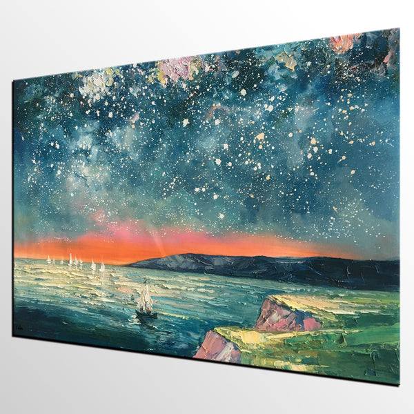 Heavy Texture Painting, Landscape Oil Painting, Starry Night Sky Painting, Large Canvas Painting