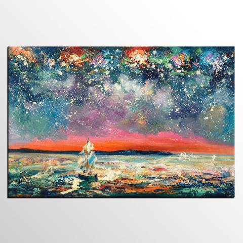 Abstract Art, Sail Boat under Starry Night Sky, Canvas Painting, Custom Landscape Wall Art, Original Painting - artworkcanvas
