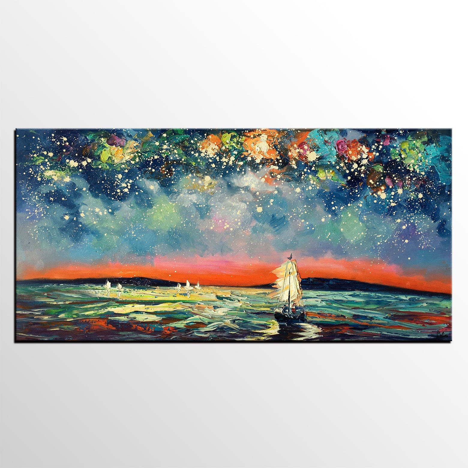 Sail Boat under Starry Night Sky Painting, Landscape Painting, Original Artwork, Custom Extra Large Canvas Painting-artworkcanvas