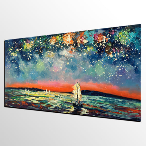 Sail Boat under Starry Night Sky Painting, Landscape Painting, Original Artwork, Custom Extra Large Canvas Painting - artworkcanvas