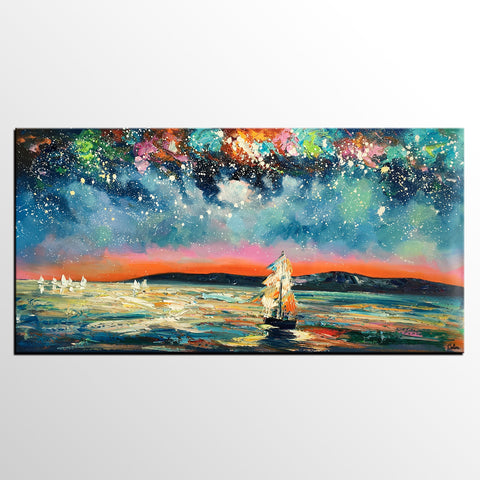 Abstract Landscape Art, Starry Night Sky Painting, Canvas Painting, Custom Extra Large Painting - artworkcanvas