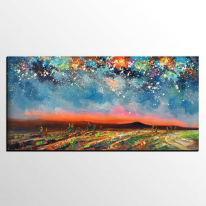 Starry Night Sky Painting, Custom Landscape Painting, Canvas Painting for Bedroom - artworkcanvas