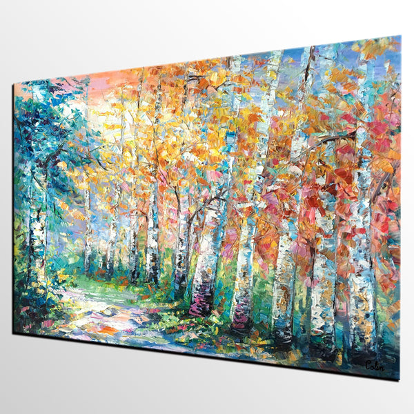 Landscape Painting, Canvas Painting, Birch Tree, Custom Large Abstract Art, Heavy Texture Art - artworkcanvas