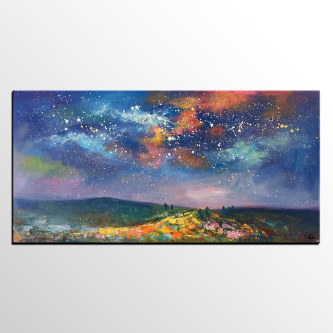 Starry Night Sky Oil Painting, Abstract Art, Modern Art Painting, Custom Extra Large Painting - artworkcanvas