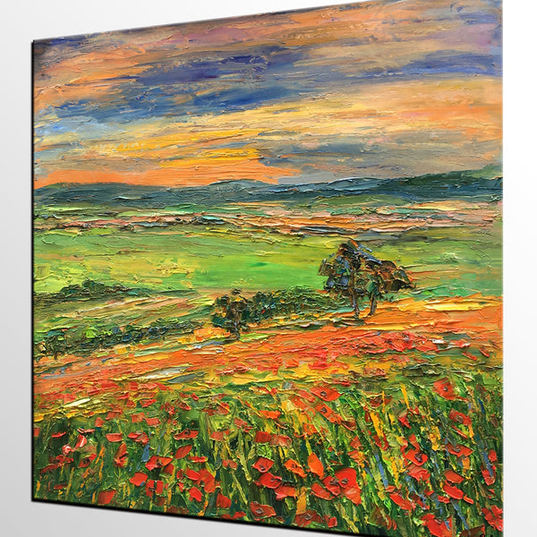 Abstract Landscape Art, Flower Field Painting, Heavy Texture Wall Art, Custom Original Oil Painting - artworkcanvas