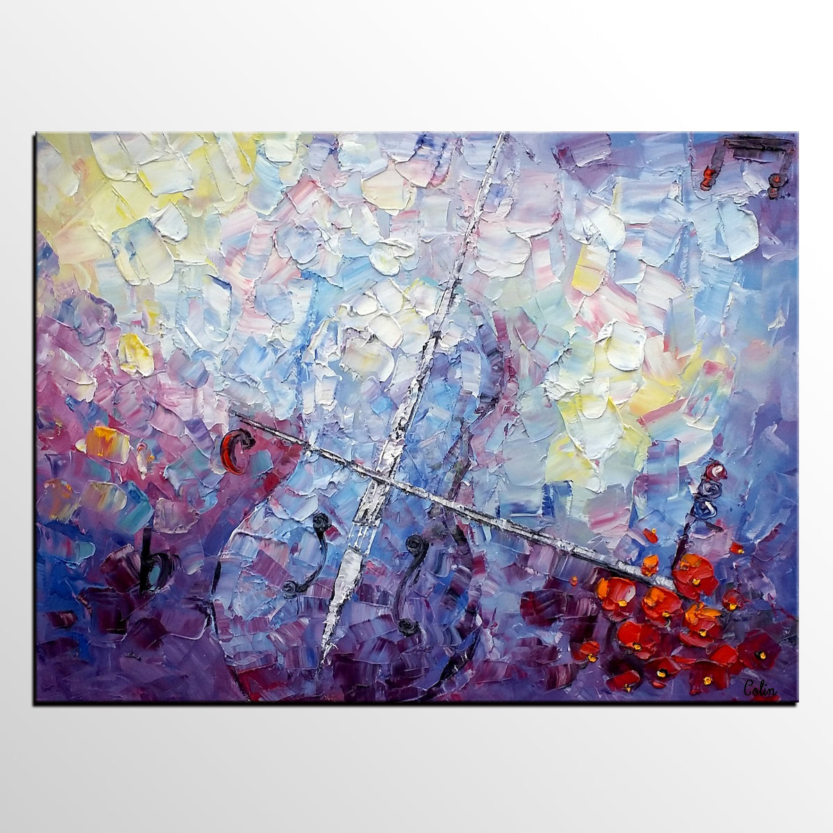 Abstract Art Painting, Canvas Wall Art, Custom Abstract Art Painting, Violin Painting - artworkcanvas