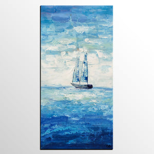 Abstract Landscape Painting, Sail Boat Painting, Canvas Art, Custom Extra Large Painting - artworkcanvas