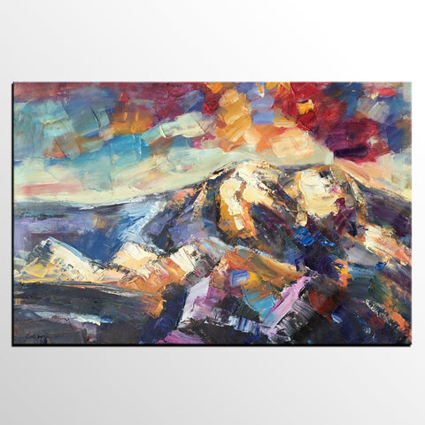 Abstract Mountain Landscape Painting, Custom Abstract Painting, Large Heavy Texture Oil Painting - artworkcanvas