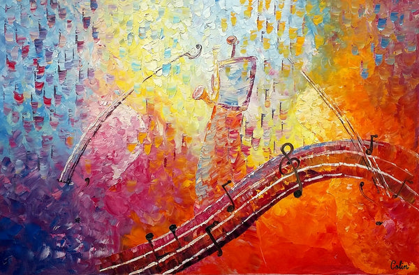 Canvas Painting, Abstract Art, Music Painting, Saxophone Player, Original Painting, Abstract Painting