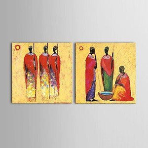 Hand Painted Art 2 Piece Canvas Painting African Figure Woman