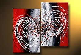 Wall Art, Wall Hanging, Large Art, Black and Red Canvas Painting, Abstract Art, Bedroom Wall Art - artworkcanvas