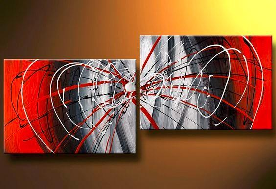 Large Art, Black and Red Canvas Painting, Abstract Art, Wall Art, Wall Hanging, Bedroom Wall Art - artworkcanvas