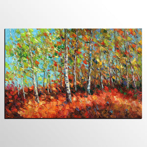 Abstract Autumn Tree Painting, Landscape Painting, Heavy Texture Oil Painting, Landscape Painting - artworkcanvas