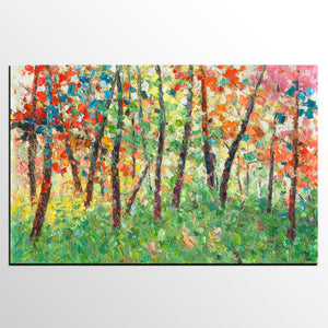 Abstract Landscape Art, Autumn Tree Painting, Original Painting, Heavy Texture Art, Extra Large Hand Painted Artwork