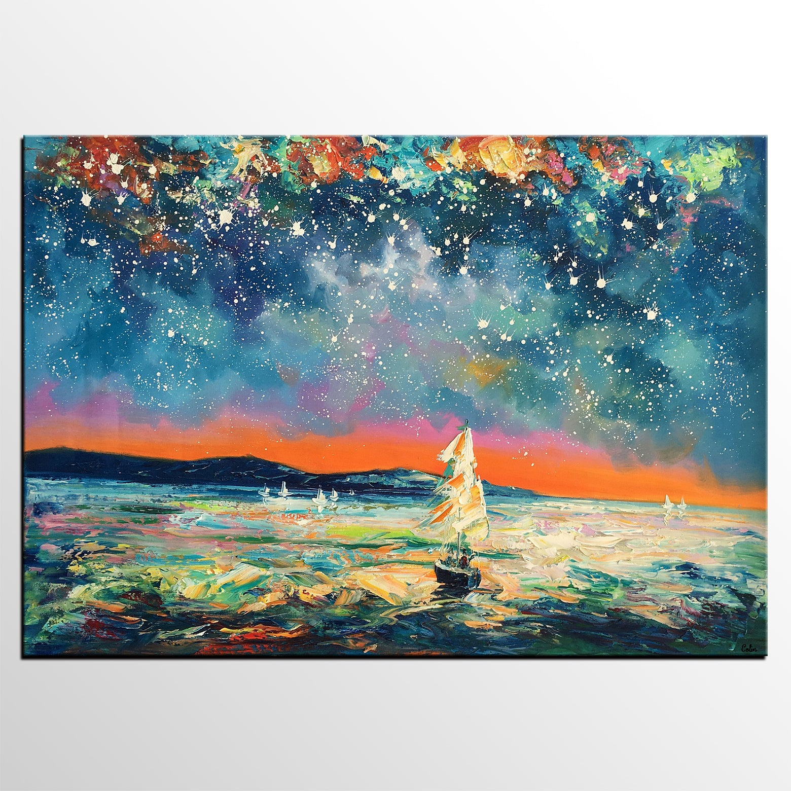 Modern Abstract Art, Oil Painting, Starry Night Sky, Landscape Painting, Bedroom Wall Art - artworkcanvas