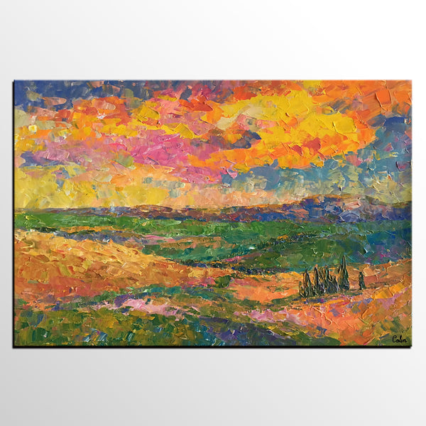 Living Room Wall Art, Autumn Landscape Painting, Acrylic Painting, Abstract Painting, Large Art, Canvas Art, Painting for Sale - artworkcanvas