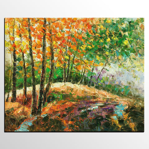 Abstract Art Painting, Autumn Tree and Lake Painting, Landscape Art, Canvas Wall Art, Autumn Tree Painting-artworkcanvas
