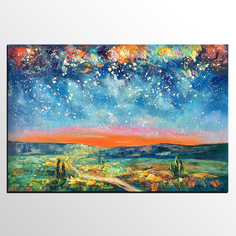Abstract Art Painting, Abstract Landscape Painting, Starry Night Sky Art, Contemporary Art, Canvas Painting, Oil Painting-artworkcanvas