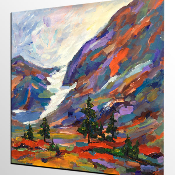Canvas Art, Abstract Autumn Art, Autumn Mountain Landscape Painting, Rustic Oil Painting - artworkcanvas