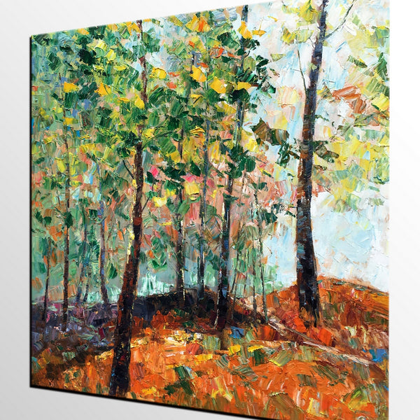 Abstract Landscape Art, Autumn Tree Art, Heavy Texture Wall Art - artworkcanvas