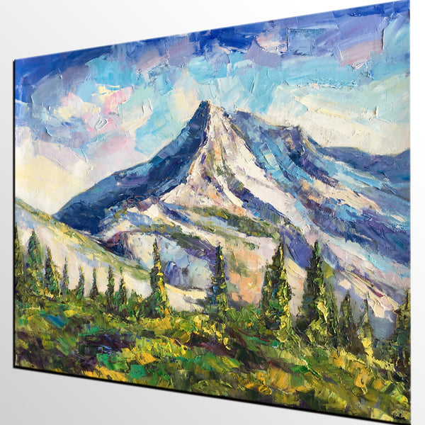 Abstract Art, Abstract Mountain Lake Landscape Painting, Oil Painting, Abstract Painting, Heavy Texture Art - artworkcanvas